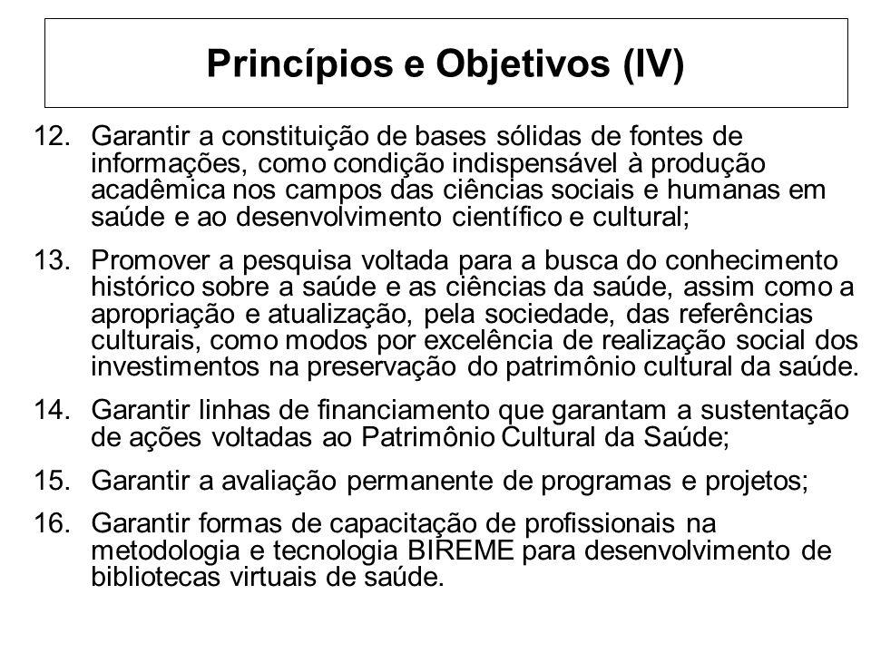 Princípios e Objetivos (IV) 12.Garantir a constituição de bases sólidas de fontes de informações, como condição indispensável à produção acadêmica nos