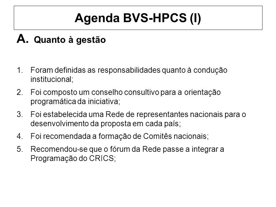 Agenda BVS-HPCS (I) A. Quanto à gestão 1.Foram definidas as responsabilidades quanto à condução institucional; 2.Foi composto um conselho consultivo p