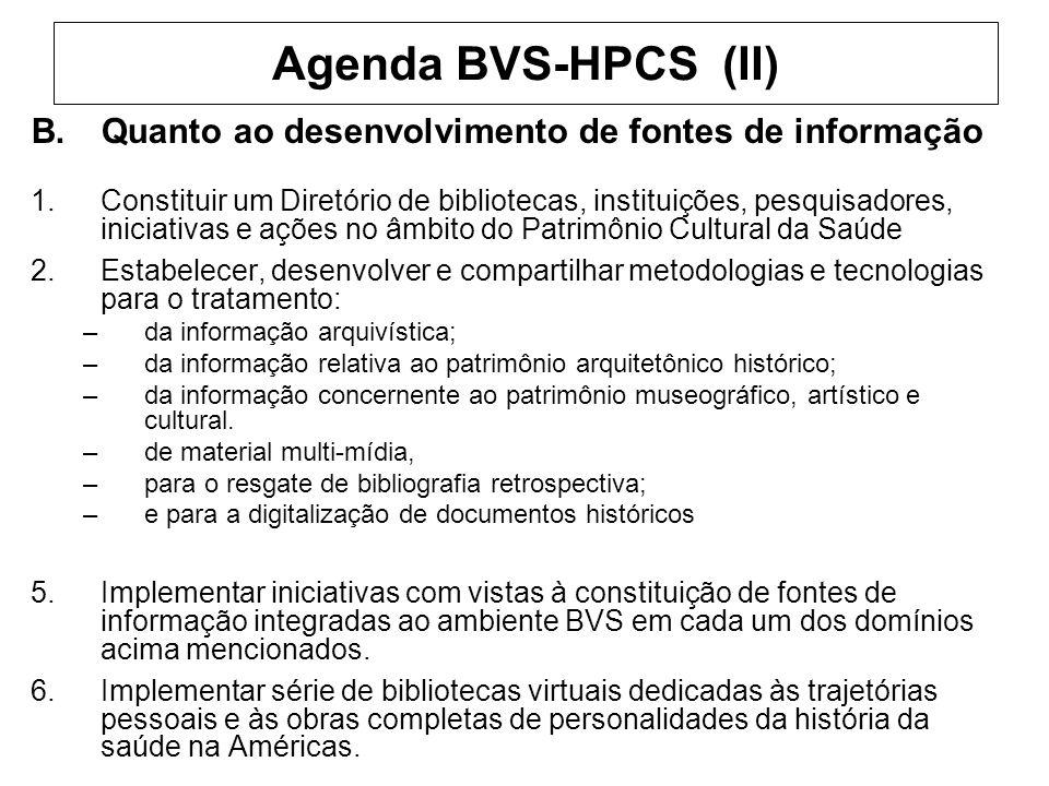 Agenda BVS-HPCS (II) B.Quanto ao desenvolvimento de fontes de informação 1.Constituir um Diretório de bibliotecas, instituições, pesquisadores, inicia