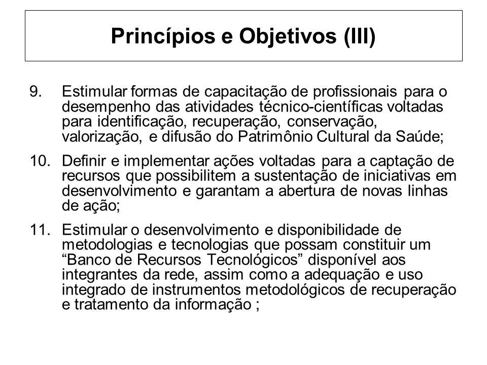 Princípios e Objetivos (III) 9.Estimular formas de capacitação de profissionais para o desempenho das atividades técnico-científicas voltadas para ide