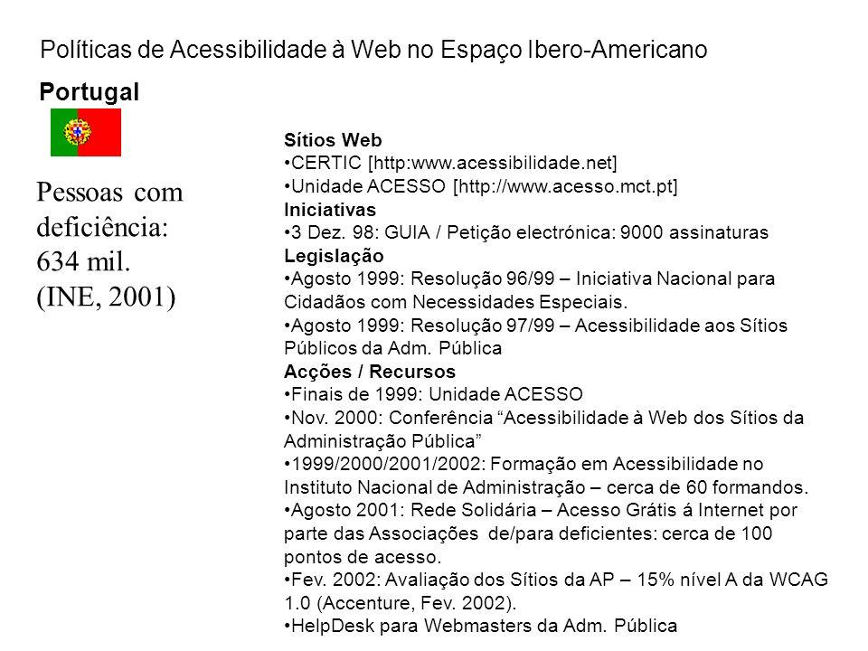 Políticas de Acessibilidade à Web no Espaço Ibero-Americano Portugal Sítios Web CERTIC [http:www.acessibilidade.net] Unidade ACESSO [http://www.acesso