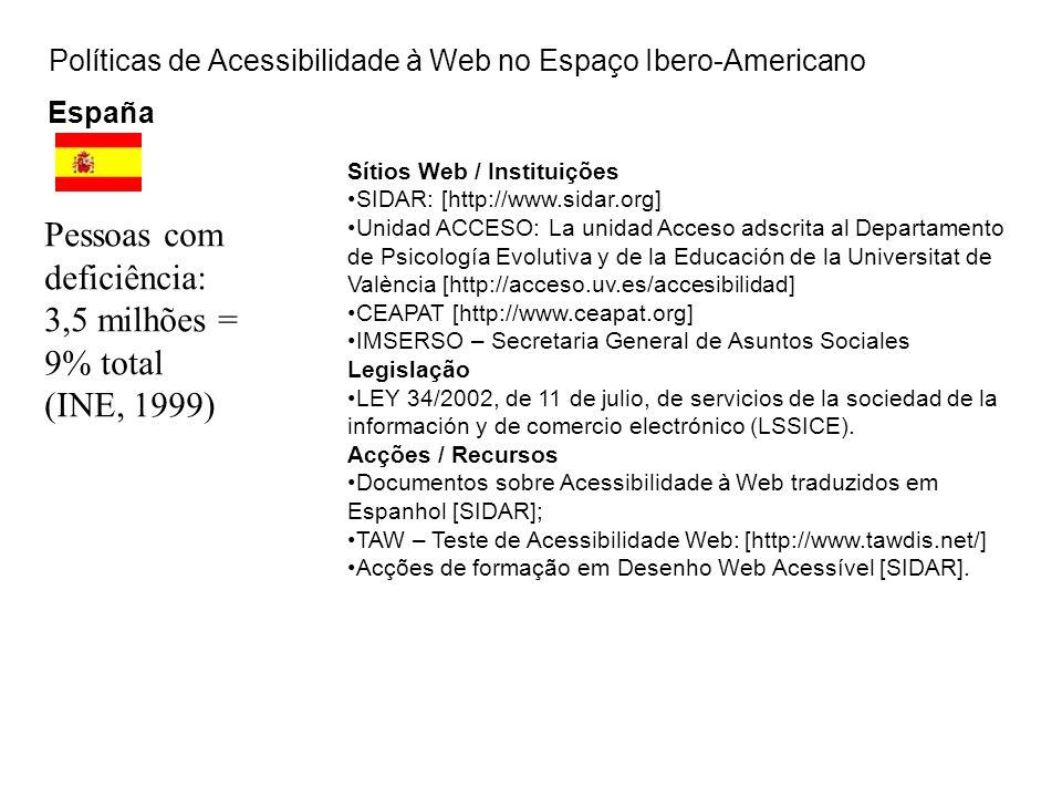 Políticas de Acessibilidade à Web no Espaço Ibero-Americano España Sítios Web / Instituições SIDAR: [http://www.sidar.org] Unidad ACCESO: La unidad Ac
