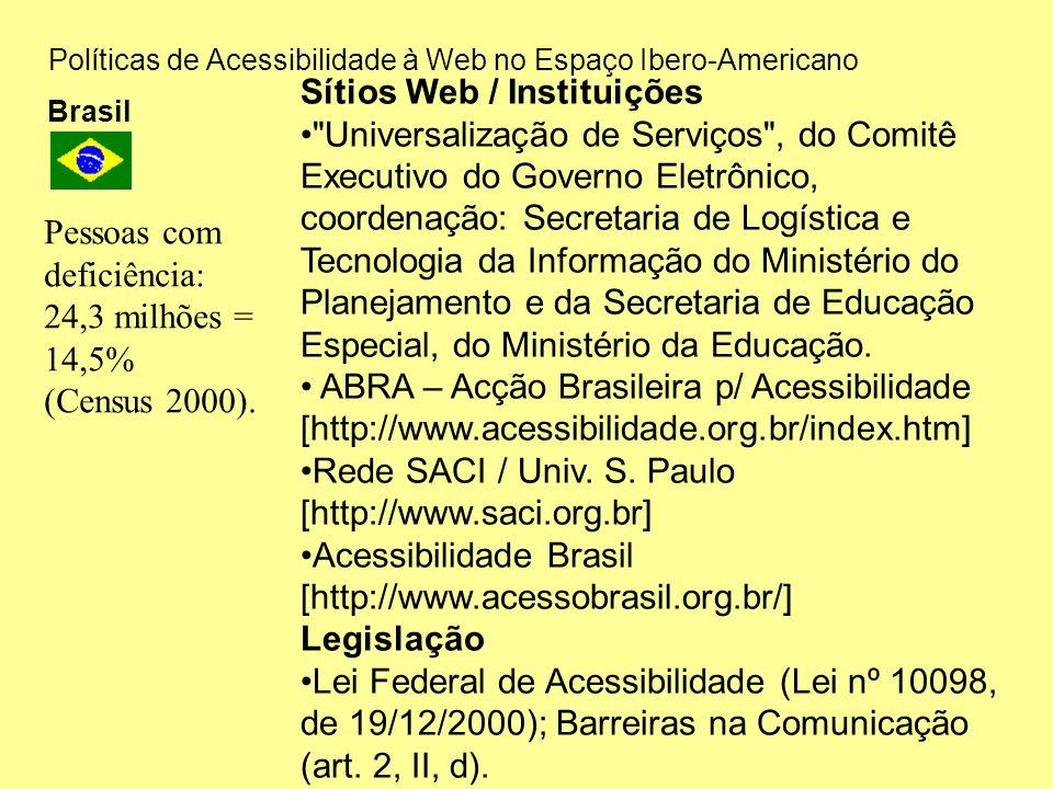 Políticas de Acessibilidade à Web no Espaço Ibero-Americano Brasil Sítios Web / Instituições Universalização de Serviços , do Comitê Executivo do Governo Eletrônico, coordenação: Secretaria de Logística e Tecnologia da Informação do Ministério do Planejamento e da Secretaria de Educação Especial, do Ministério da Educação.