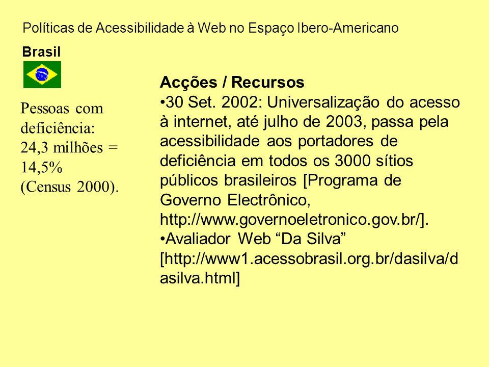 Políticas de Acessibilidade à Web no Espaço Ibero-Americano Brasil Acções / Recursos 30 Set. 2002: Universalização do acesso à internet, até julho de