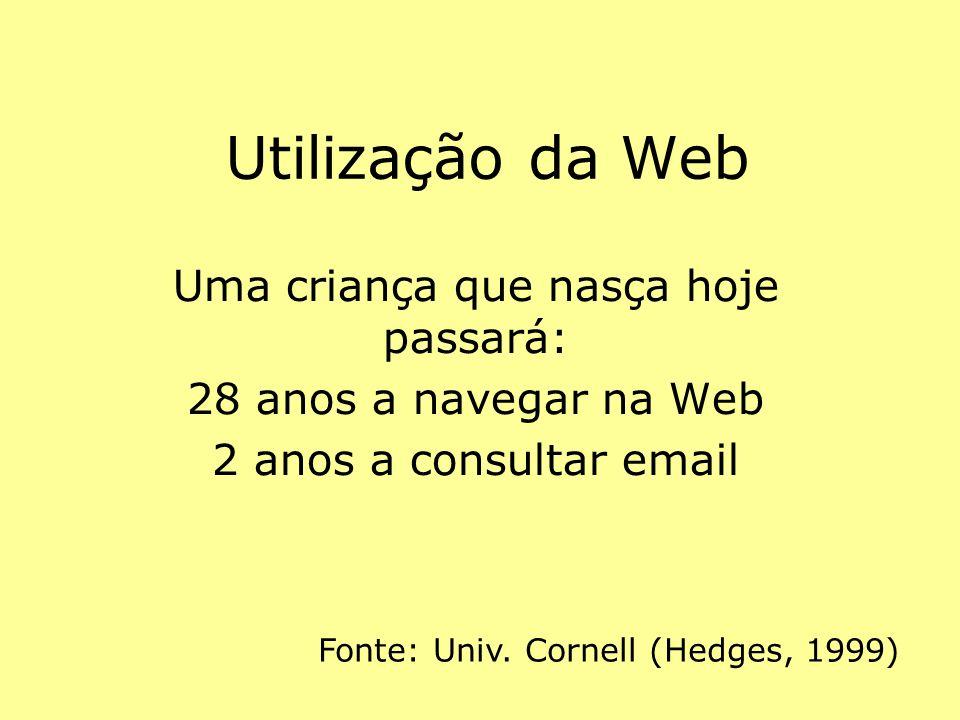 Utilização da Web Uma criança que nasça hoje passará: 28 anos a navegar na Web 2 anos a consultar email Fonte: Univ. Cornell (Hedges, 1999)