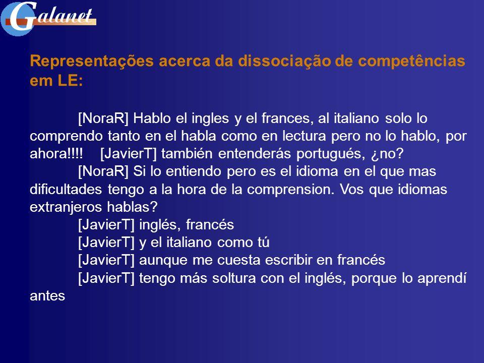 Representações acerca da dissociação de competências em LE: [NoraR] Hablo el ingles y el frances, al italiano solo lo comprendo tanto en el habla como