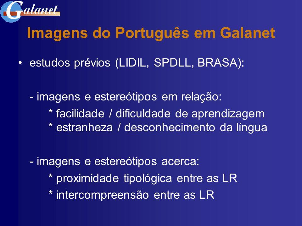 Imagens do Português em Galanet estudos prévios (LIDIL, SPDLL, BRASA): - imagens e estereótipos em relação: * facilidade / dificuldade de aprendizagem
