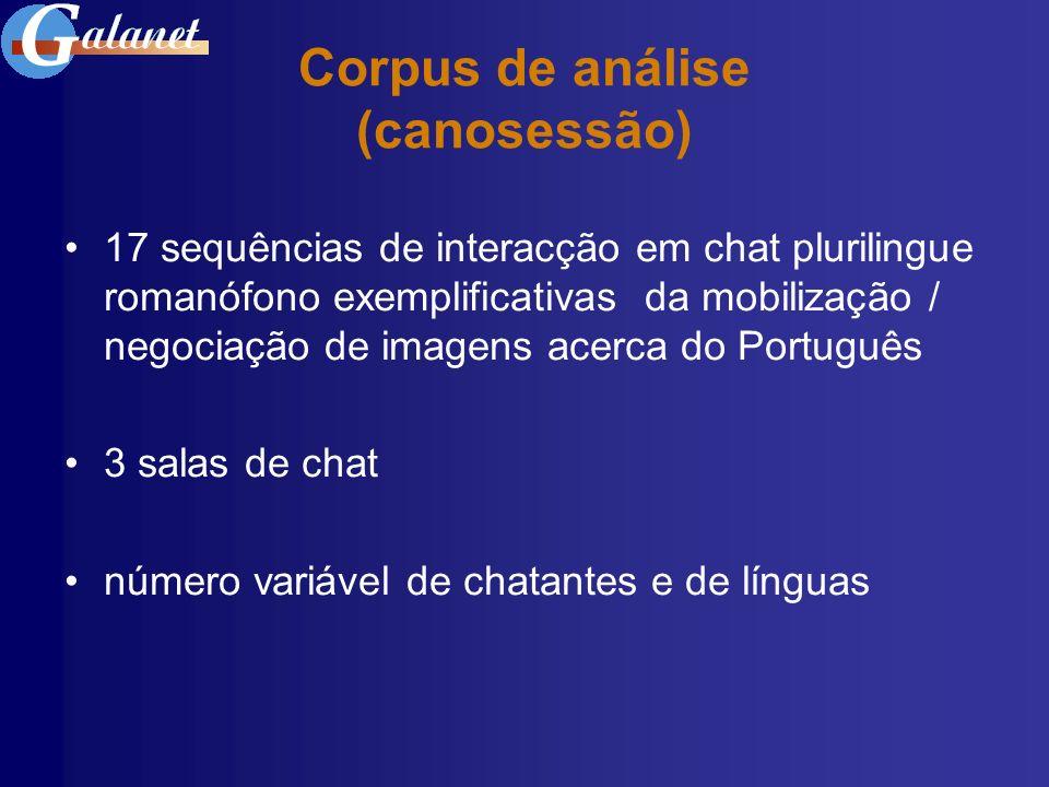 Corpus de análise (canosessão) 17 sequências de interacção em chat plurilingue romanófono exemplificativas da mobilização / negociação de imagens acer