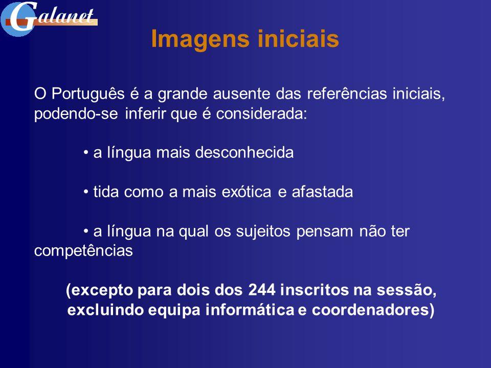 Imagens iniciais O Português é a grande ausente das referências iniciais, podendo-se inferir que é considerada: a língua mais desconhecida tida como a