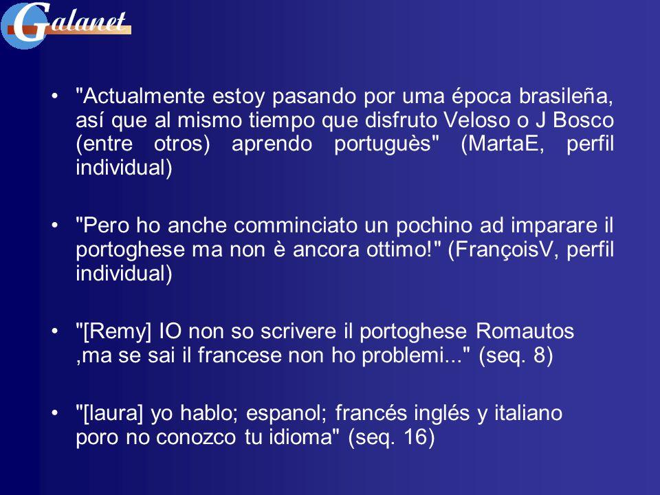 O que nos diz o nosso corpus ao longo das sessões Imagens / representações acerca * possibilidades de intercompreensão a nível escrito: [Isadora] Anch io amo molto le lingue, soprattutto il francese, e non conosco affatto il portoghese, ma provo a capirti!!.