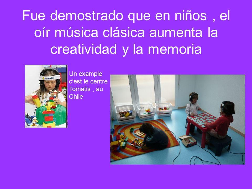 Fue demostrado que en niños, el oír música clásica aumenta la creatividad y la memoria Un example cest le centre Tomatis, au Chile