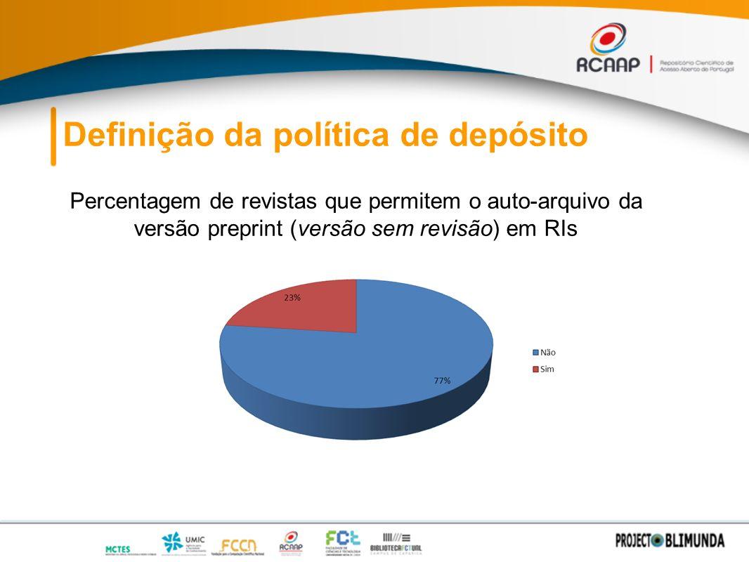 Definição da política de depósito Percentagem de revistas que permitem o auto-arquivo da versão preprint (versão sem revisão) em RIs