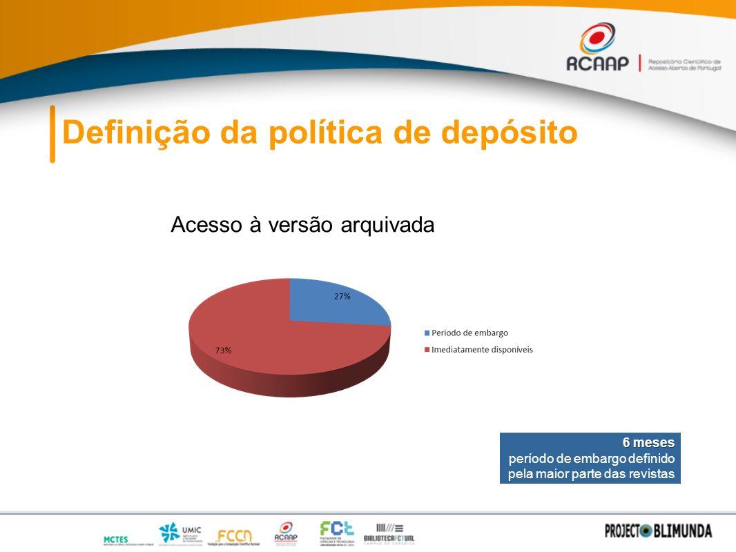 Definição da política de depósito Acesso à versão arquivada 6 meses período de embargo definido pela maior parte das revistas