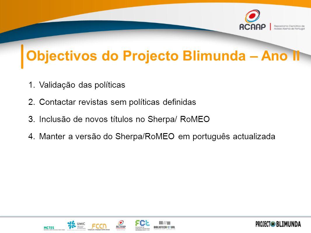 Objectivos do Projecto Blimunda – Ano II 1.Validação das políticas 2.Contactar revistas sem políticas definidas 3.Inclusão de novos títulos no Sherpa/ RoMEO 4.Manter a versão do Sherpa/RoMEO em português actualizada