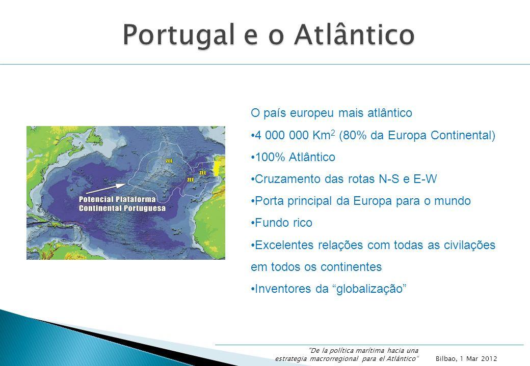 O país europeu mais atlântico 4 000 000 Km 2 (80% da Europa Continental) 100% Atlântico Cruzamento das rotas N-S e E-W Porta principal da Europa para o mundo Fundo rico Excelentes relações com todas as civilações em todos os continentes Inventores da globalização Bilbao, 1 Mar 2012 De la política marítima hacia una estrategia macrorregional para el Atlántico