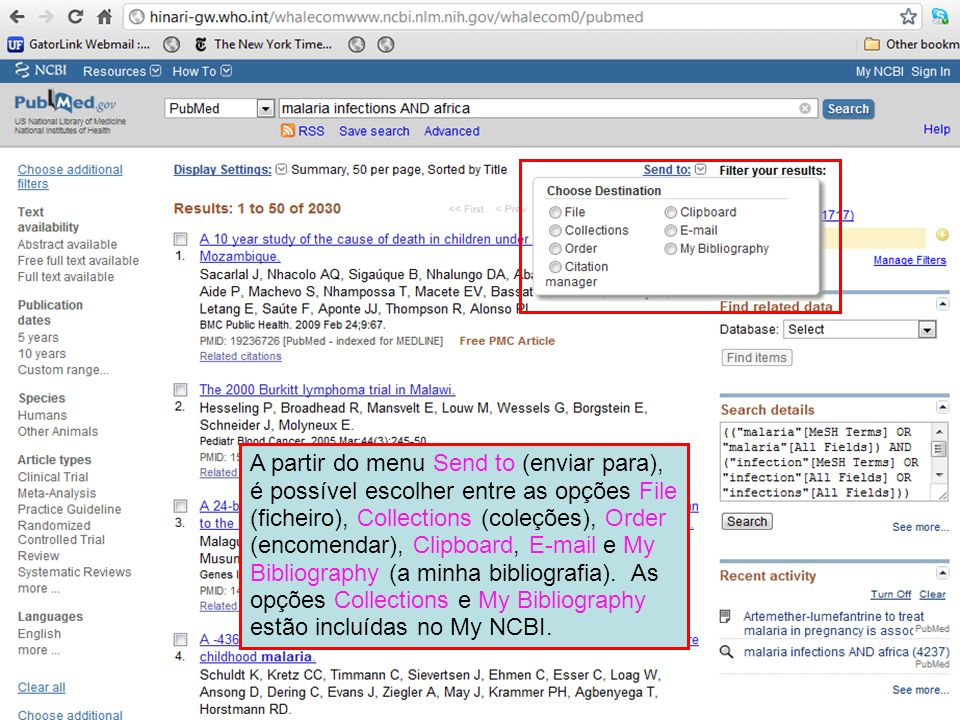 A partir do menu Send to (enviar para), é possível escolher entre as opções File (ficheiro), Collections (coleções), Order (encomendar), Clipboard, E-