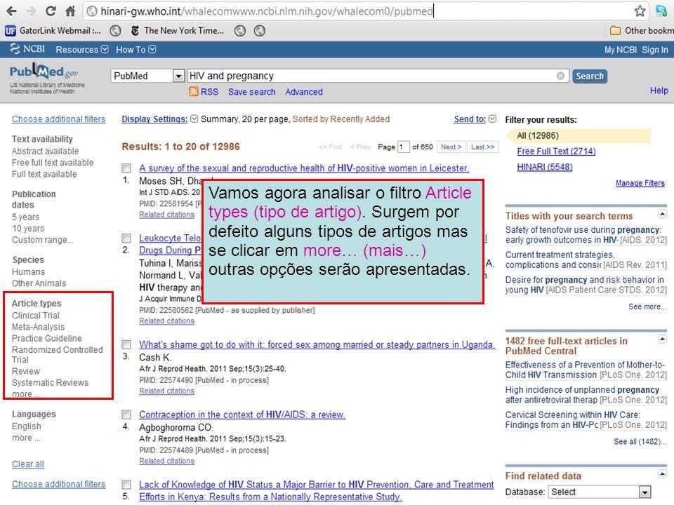 Vamos agora analisar o filtro Article types (tipo de artigo). Surgem por defeito alguns tipos de artigos mas se clicar em more… (mais…) outras opções