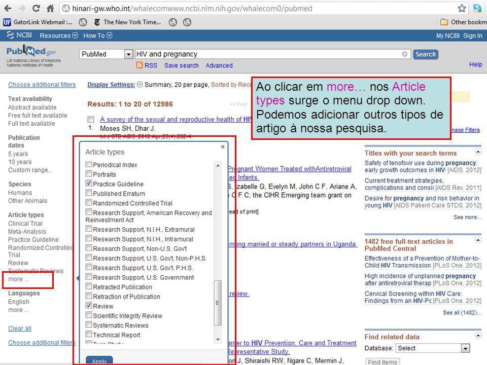 Ao clicar em more… nos Article types surge o menu drop down. Podemos adicionar outros tipos de artigo à nossa pesquisa.