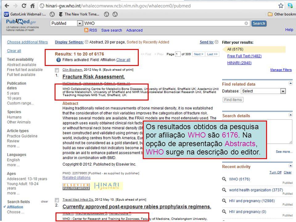 Os resultados obtidos da pesquisa por afiliação WHO são 6176. Na opção de apresentação Abstracts, WHO surge na descrição do editor.
