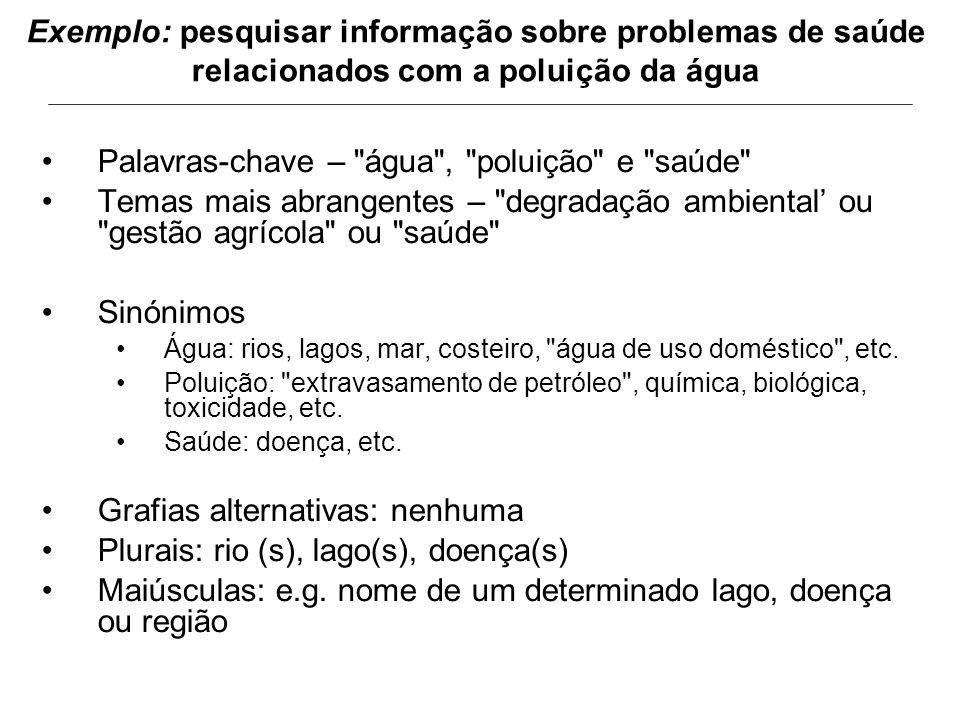 Exemplo: pesquisar informação sobre problemas de saúde relacionados com a poluição da água Palavras-chave –