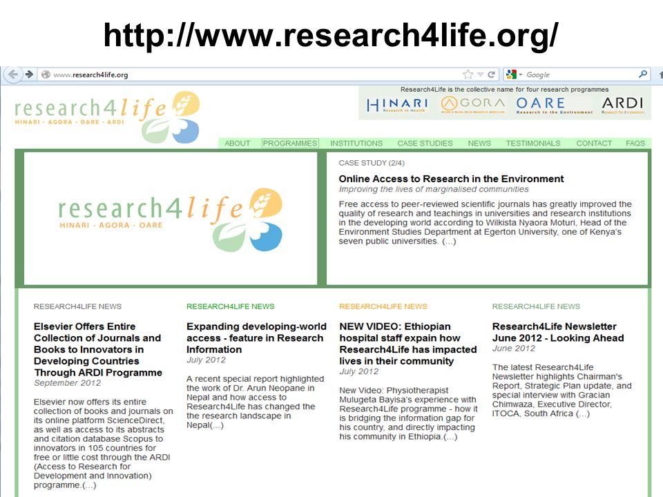 HINARI: pesquisa em saúde (8500 periódicos, 7000 livros, 150 editoras) http://www.who.int/hinari/en/ AGORA: pesquisa em agricultura (1900 periódicos, 76 editoras) http://www.aginternetwork.org/en/ OARE: pesquisa em meio ambiente (4150 periódicos, 350 editoras) http://www.unep.org/oare/en/ http://www.who.int/hinari/en/ http://www.aginternetwork.org/en/http://www.unep.org/oare/en/ aRDi: Desenvolvimento e pesquisa na área da inovação (>200 periódicos, 12 editoras) http://www.wipo.int/ardi/en/