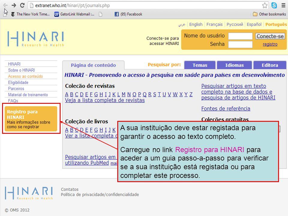 A sua instituição deve estar registada para garantir o acesso ao texto completo. Carregue no link Registro para HINARI para aceder a um guia passo-a-p