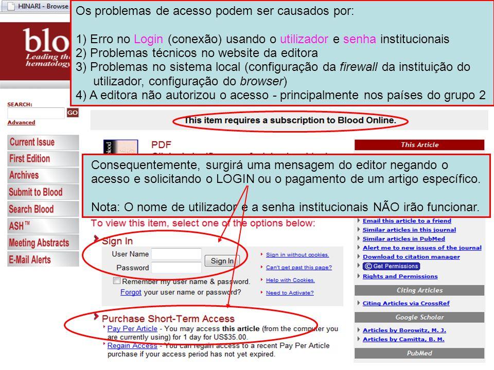 Os problemas de acesso podem ser causados por: 1) Erro no Login (conexão) usando o utilizador e senha institucionais 2) Problemas técnicos no website