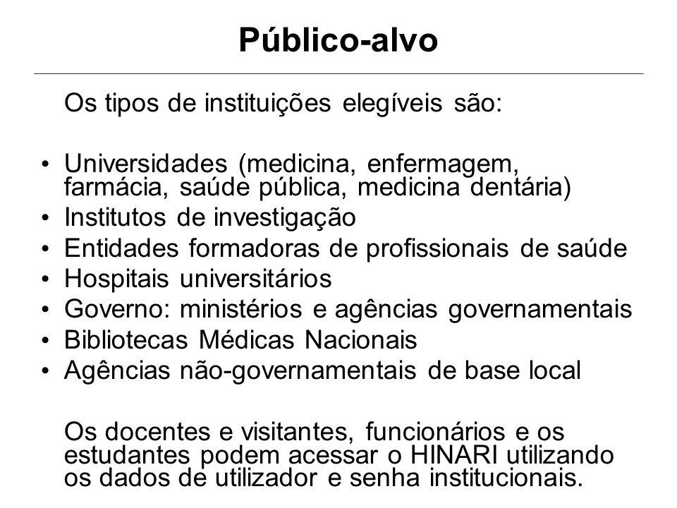 Público-alvo Os tipos de instituições elegíveis são: Universidades (medicina, enfermagem, farmácia, saúde pública, medicina dentária) Institutos de in
