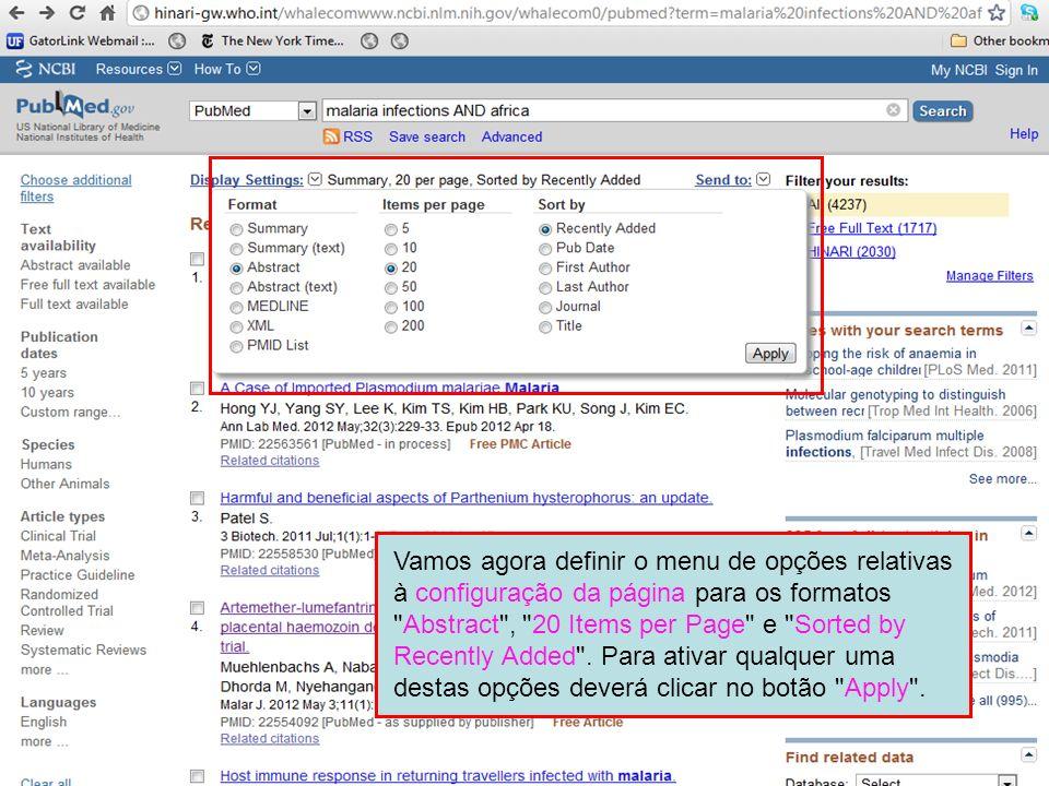 Vamos agora definir o menu de opções relativas à configuração da página para os formatos