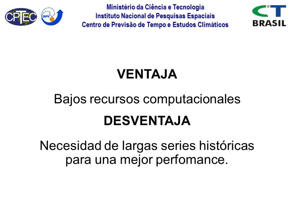 Ministério da Ciência e Tecnologia Instituto Nacional de Pesquisas Espaciais Centro de Previsão de Tempo e Estudos Climáticos VENTAJA Bajos recursos c