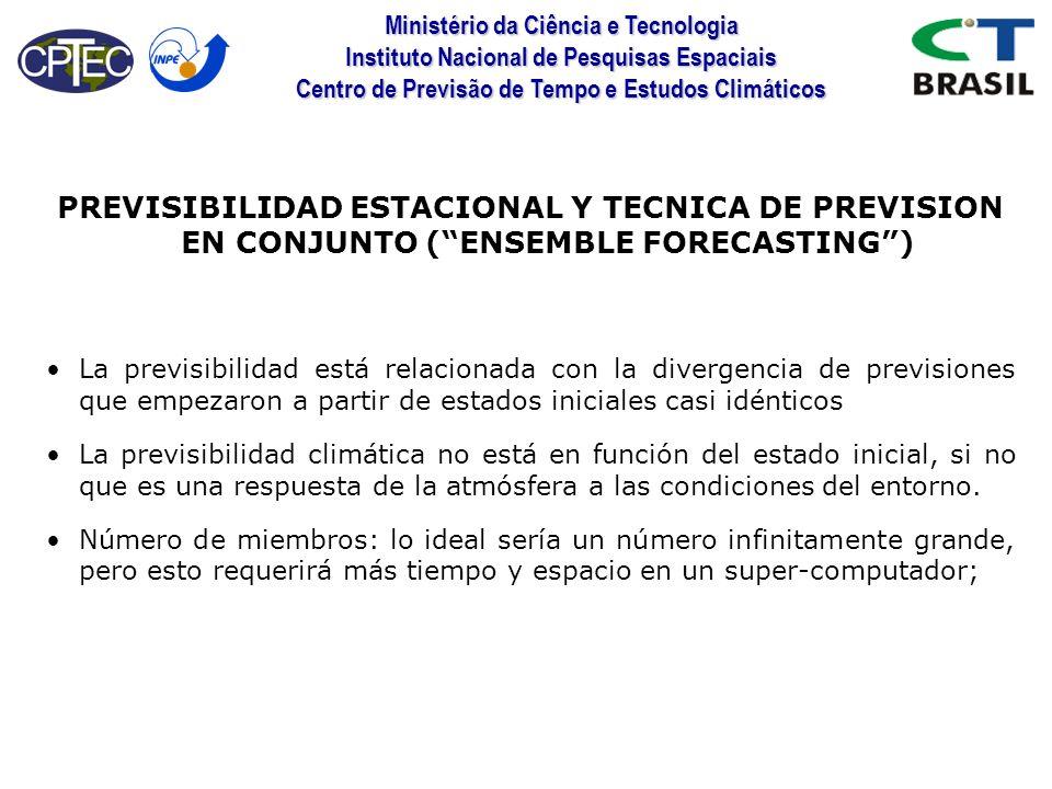 Ministério da Ciência e Tecnologia Instituto Nacional de Pesquisas Espaciais Centro de Previsão de Tempo e Estudos Climáticos PREVISIBILIDAD ESTACIONA