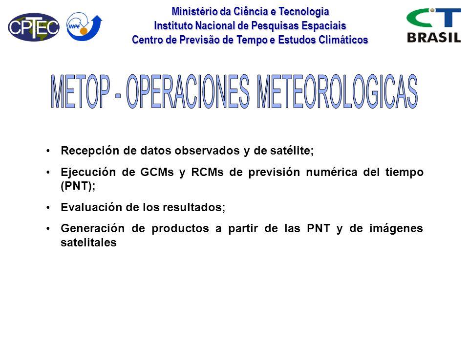 Ministério da Ciência e Tecnologia Instituto Nacional de Pesquisas Espaciais Centro de Previsão de Tempo e Estudos Climáticos Recepción de datos obser