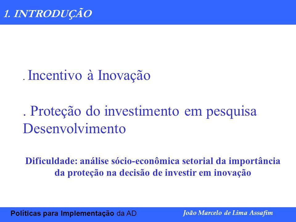 Marco Túlio de Barros e Castro Políticas para Implementação da AD João Marcelo de Lima Assafim 1. INTRODUÇÃO. Incentivo à Inovação. Proteção do invest