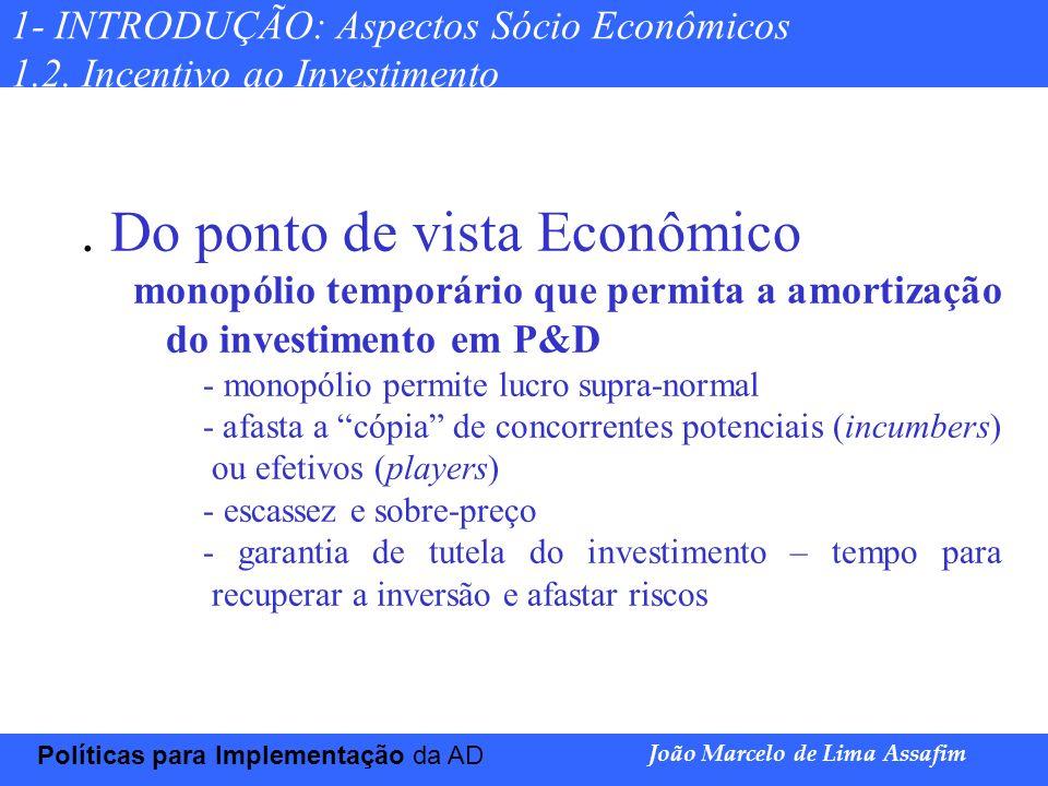 Marco Túlio de Barros e Castro Políticas para Implementação da AD João Marcelo de Lima Assafim 1- INTRODUÇÃO: Aspectos Sócio Econômicos 1.2. Incentivo
