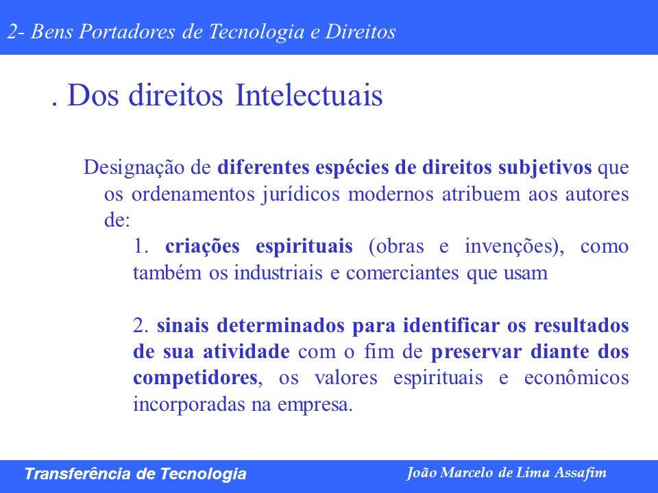 Marco Túlio de Barros e Castro Transferência de Tecnologia João Marcelo de Lima Assafim 2- Bens Portadores de Tecnologia e Direitos. Dos direitos Inte