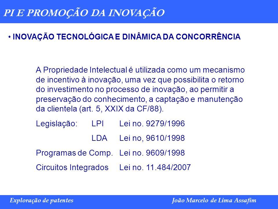 Marco Túlio de Barros e Castro Exploração de patentesJoão Marcelo de Lima Assafim PI E PROMOÇÃO DA INOVAÇÃO INOVAÇÃO TECNOLÓGICA E DINÂMICA DA CONCORR