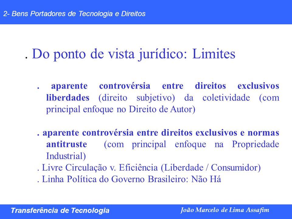 Marco Túlio de Barros e Castro Transferência de Tecnologia João Marcelo de Lima Assafim 2- Bens Portadores de Tecnologia e Direitos. Do ponto de vista