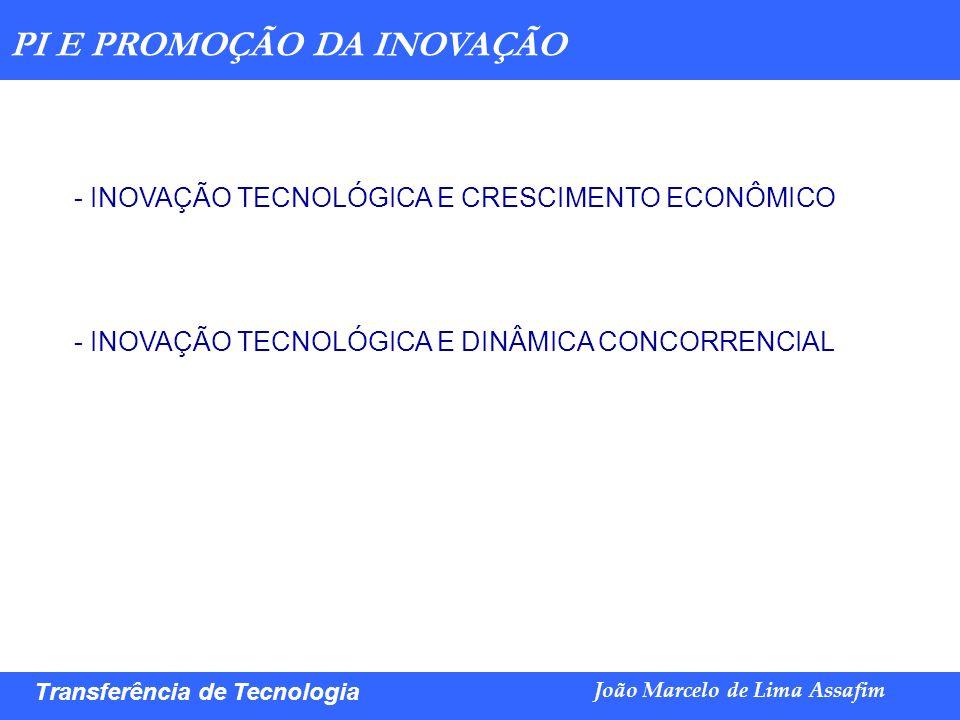 Marco Túlio de Barros e Castro Transferência de Tecnologia João Marcelo de Lima Assafim PI E PROMOÇÃO DA INOVAÇÃO - INOVAÇÃO TECNOLÓGICA E CRESCIMENTO