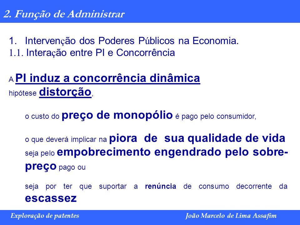 Marco Túlio de Barros e Castro Exploração de patentesJoão Marcelo de Lima Assafim 2. Função de Administrar 1.Interven ç ão dos Poderes P ú blicos na E