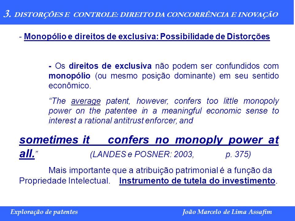 Marco Túlio de Barros e Castro Exploração de patentesJoão Marcelo de Lima Assafim 3. DISTORÇÕES E CONTROLE: DIREITO DA CONCORRÊNCIA E INOVAÇÃO - Monop