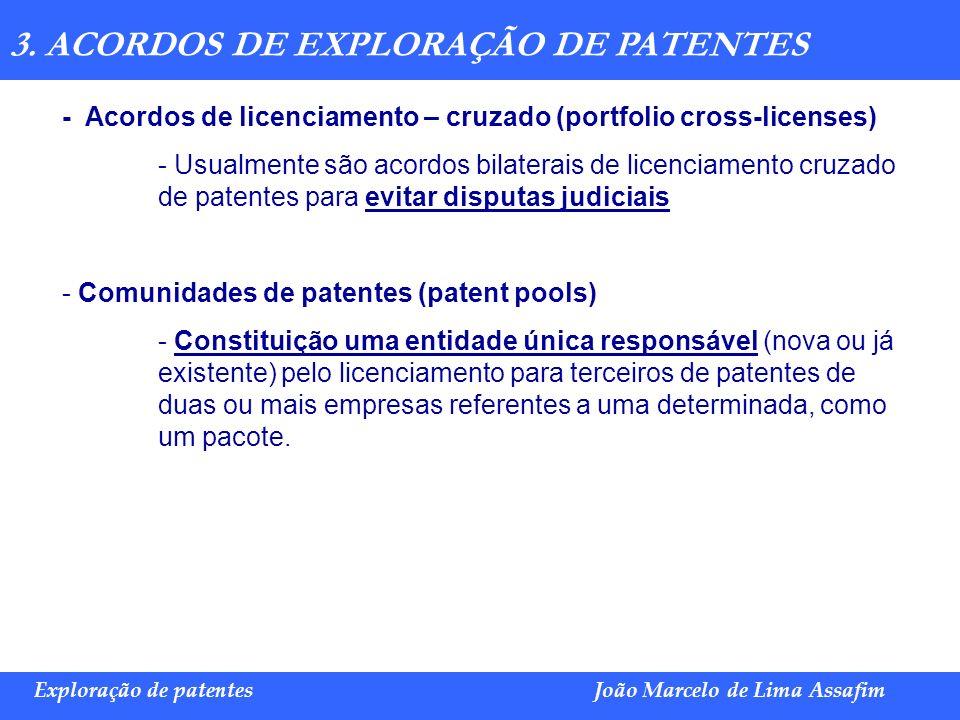 Marco Túlio de Barros e Castro Exploração de patentesJoão Marcelo de Lima Assafim 3. ACORDOS DE EXPLORAÇÃO DE PATENTES - Acordos de licenciamento – cr