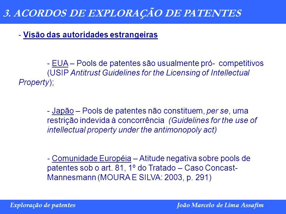 Marco Túlio de Barros e Castro Exploração de patentesJoão Marcelo de Lima Assafim 3. ACORDOS DE EXPLORAÇÃO DE PATENTES - Visão das autoridades estrang
