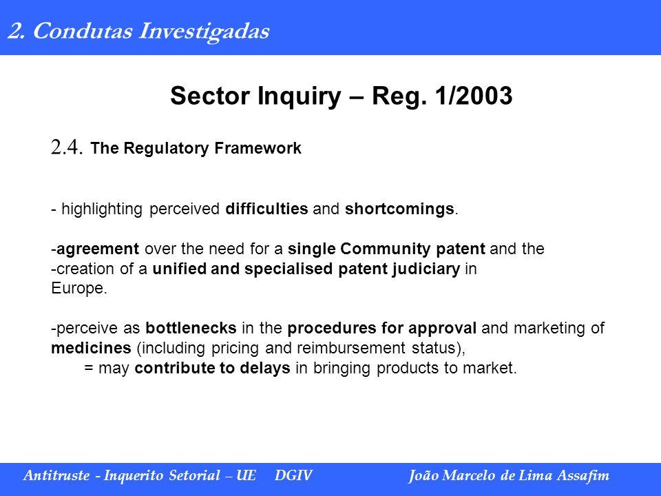 Marco Túlio de Barros e Castro Antitruste - Inquerito Setorial – UE DGIVJoão Marcelo de Lima Assafim 2. Condutas Investigadas Sector Inquiry – Reg. 1/
