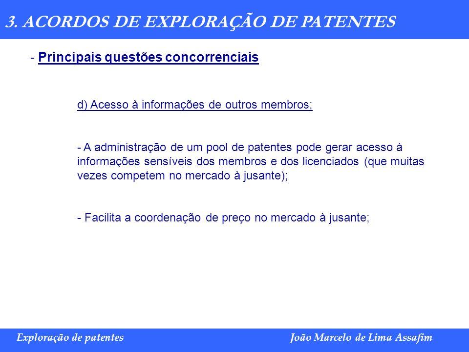 Marco Túlio de Barros e Castro Exploração de patentesJoão Marcelo de Lima Assafim 3. ACORDOS DE EXPLORAÇÃO DE PATENTES - Principais questões concorren