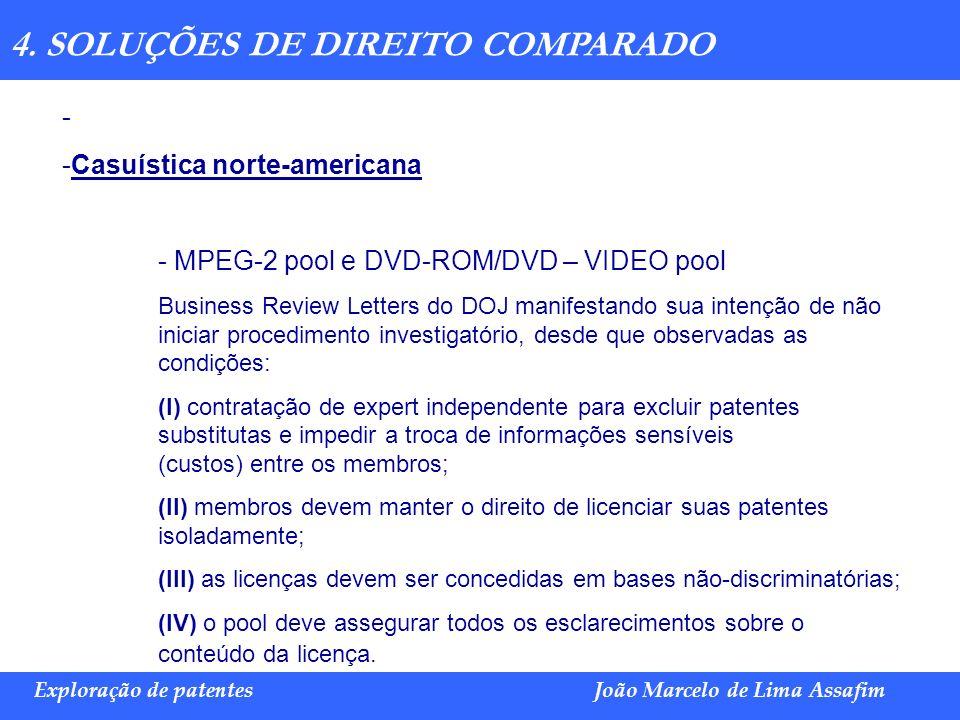Marco Túlio de Barros e Castro Exploração de patentesJoão Marcelo de Lima Assafim 4. SOLUÇÕES DE DIREITO COMPARADO - - Casuística norte-americana - MP