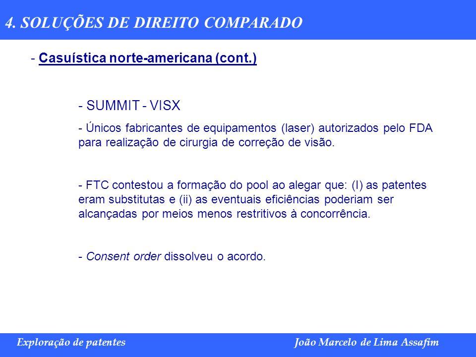 Marco Túlio de Barros e Castro Exploração de patentesJoão Marcelo de Lima Assafim 4. SOLUÇÕES DE DIREITO COMPARADO - Casuística norte-americana (cont.