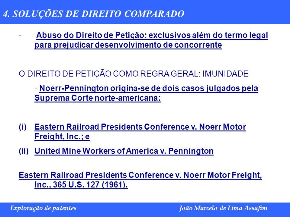 Marco Túlio de Barros e Castro Exploração de patentesJoão Marcelo de Lima Assafim 4. SOLUÇÕES DE DIREITO COMPARADO - Abuso do Direito de Petição: excl