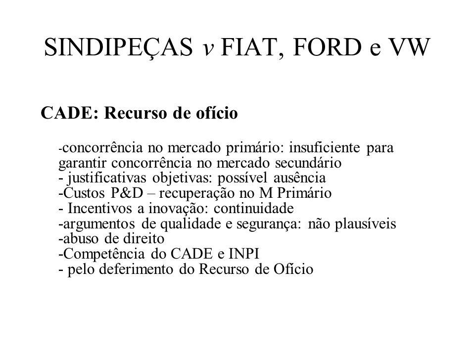 SINDIPEÇAS v FIAT, FORD e VW CADE: Recurso de ofício - concorrência no mercado primário: insuficiente para garantir concorrência no mercado secundário