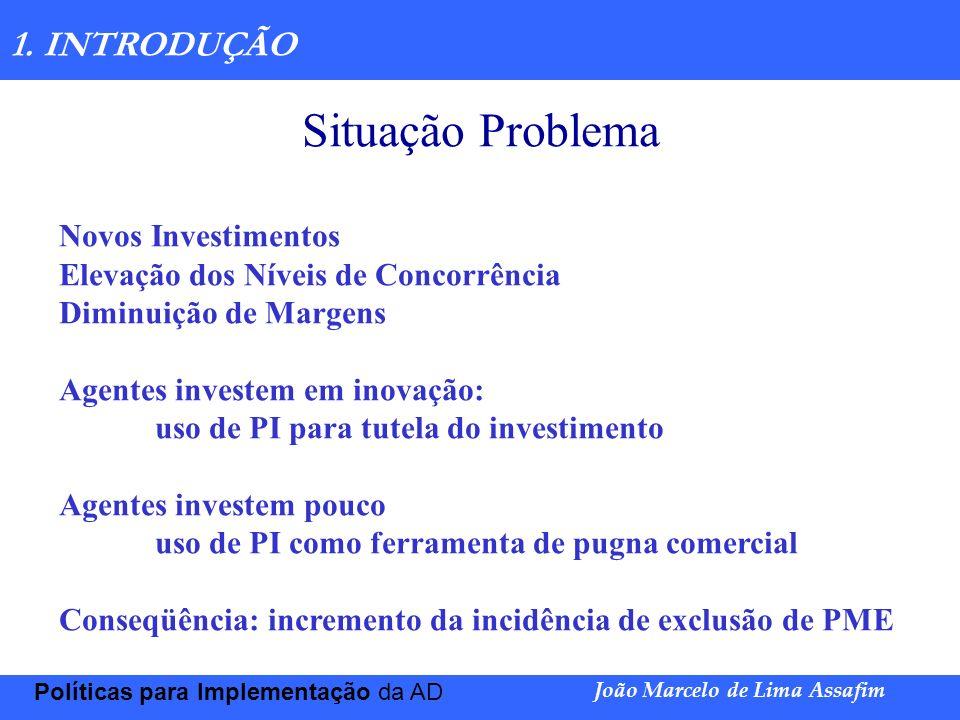 Marco Túlio de Barros e Castro Políticas para Implementação da AD João Marcelo de Lima Assafim 1. INTRODUÇÃO Situação Problema Novos Investimentos Ele