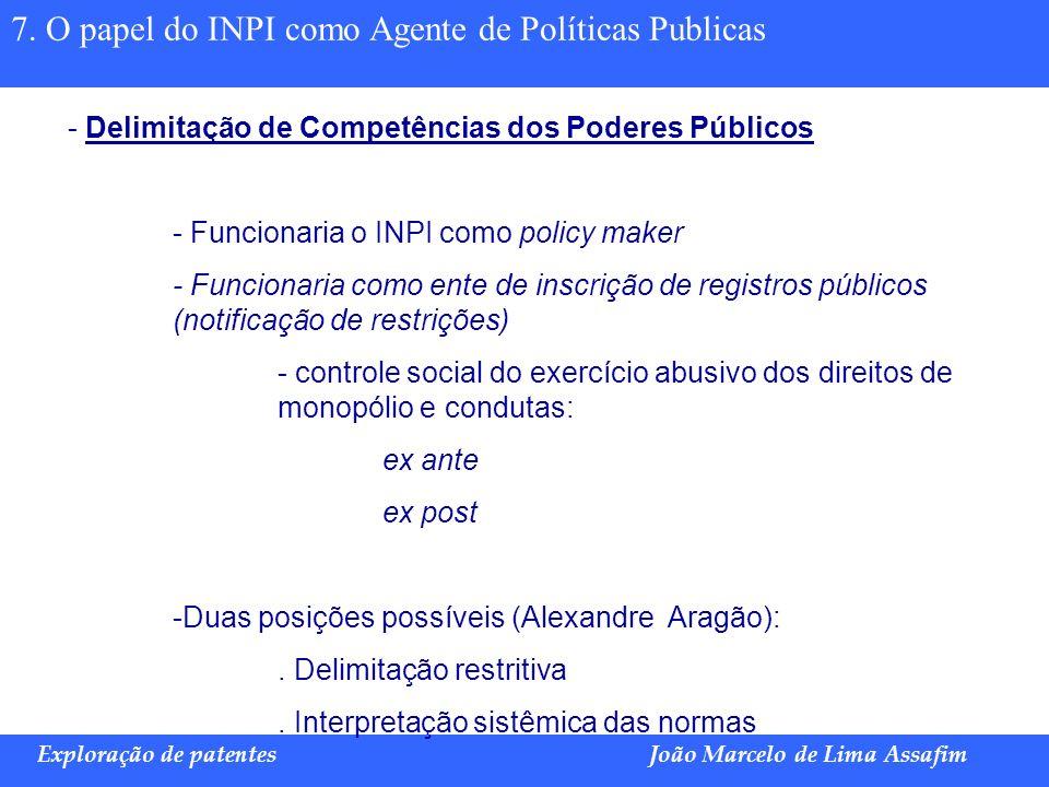 Marco Túlio de Barros e Castro Exploração de patentesJoão Marcelo de Lima Assafim 7. O papel do INPI como Agente de Políticas Publicas - Delimitação d